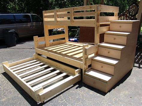 Bunk Bed Plans With Drawers Bunk Bed With Trundle And Storage Drawers Woodworking Projects Plans