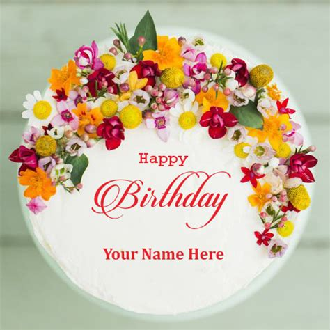 Happy Birthday Cards With Name Edit Happy Birthday Colorful Flower Cake With Your Name Print