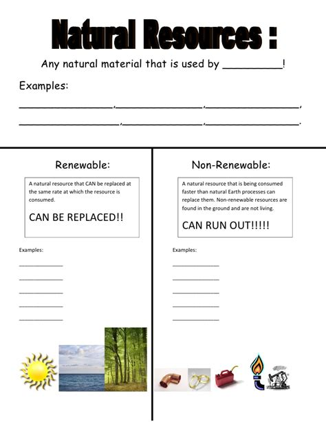 Energy Resources Worksheet renewable and nonrenewable resources worksheet