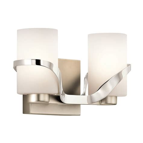 Polished Nickel Bathroom Lights Shop Kichler Lighting 2 Light Stelata Polished Nickel Bathroom Vanity Light At Lowes