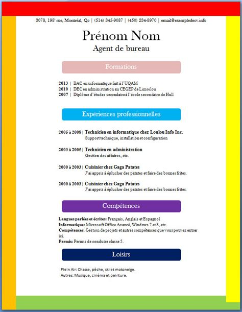 Modele Cv Couleur by Modele Cv Gratuit En Couleur Document