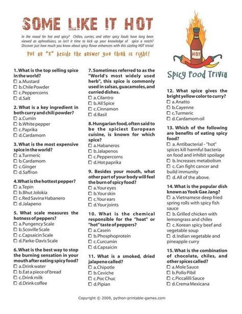 6 best images of printable baseball trivia and answers foods drinks games hot and spicy food trivia 6 95