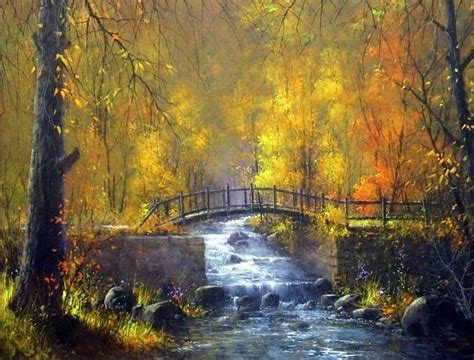 acrylic painting with jerry yarnell autumn bridge by jerry yarnell paintings forest and