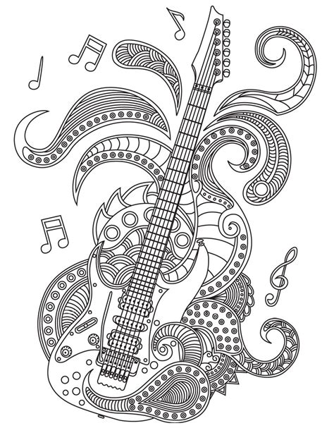 guitar coloring pages for adults guitar colorish coloring book for adults mandala relax