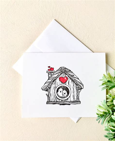 Handmade Notecards - lovebirds at home handmade note cards set of 10
