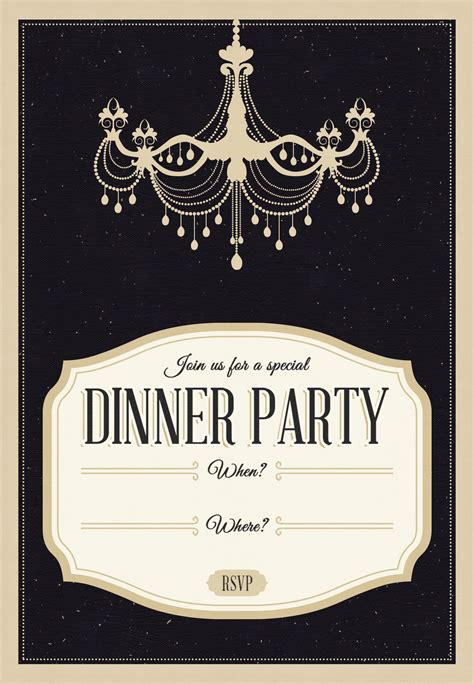 design an invitation card for dinner party classy chandelier free printable dinner party invitation