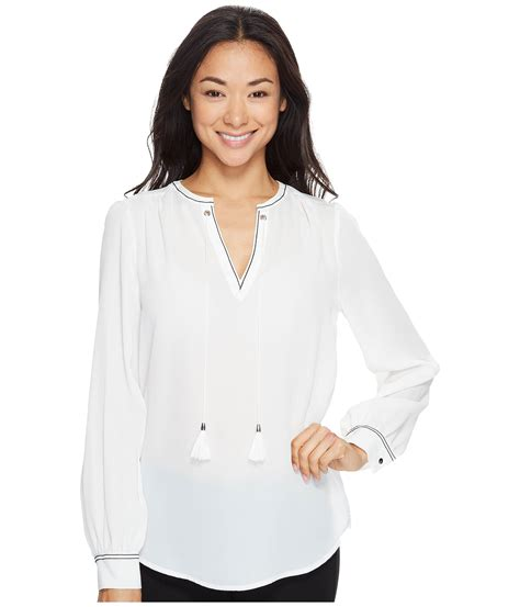 Trumpi Blouse ivanka sleeve woven blouse with tassles in white lyst