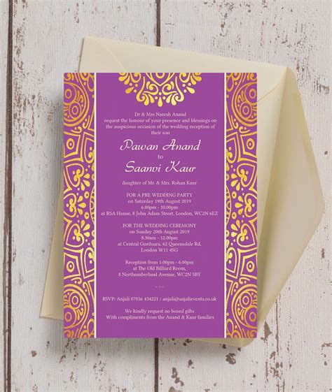 purple mandala indian asian wedding invitation
