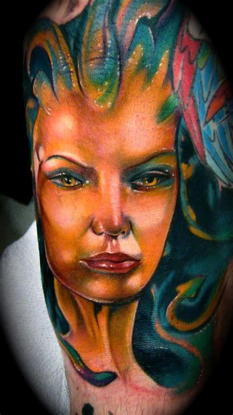 art junkies tattoo medusa color portrait mike demasi junkies