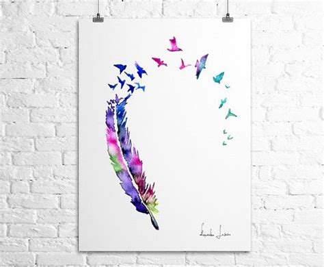 printable art works birds feather art print watercolor painting watercolor