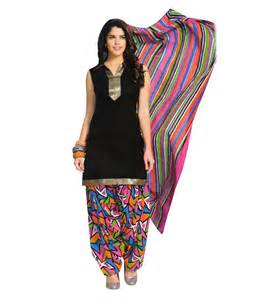 Charu boutique black and multi soft cotton printed dress material