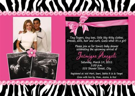 black white zebra print pink multi photo baby shower