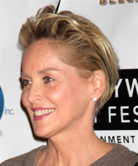 the back of sharon stines short bob sharon stone short straight casual hairstyle dark blonde
