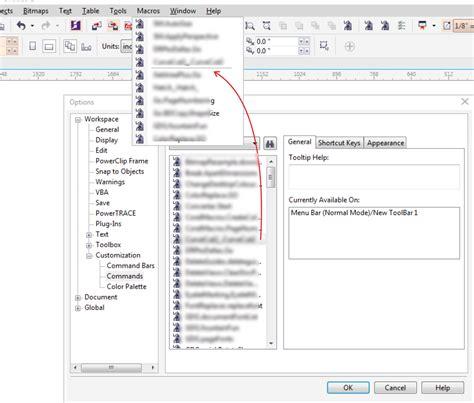 corel draw x7 indir insert macro into menu bar does not update coreldraw