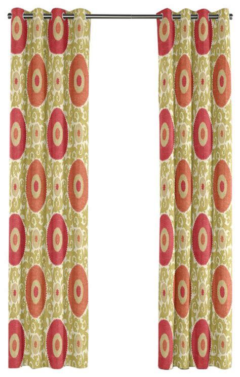 suzani print curtains green and coral suzani grommet curtain mediterranean