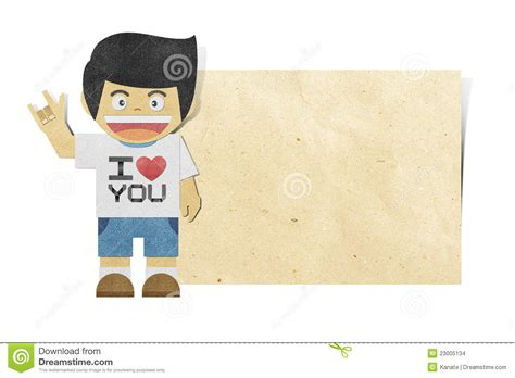 Note Papercraft - paper boy on note recycled papercraft stock images image