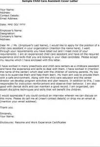 Daycare Assistant Cover Letter by Child Care Worker Cover Letter Sle Http Www Resumecareer Info Child Care Worker Cover