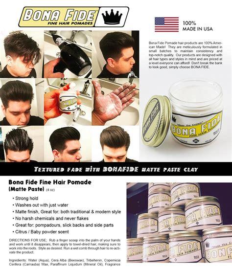 Pomade Bona Fide bona fide made in usa hair pomade matte paste 113g