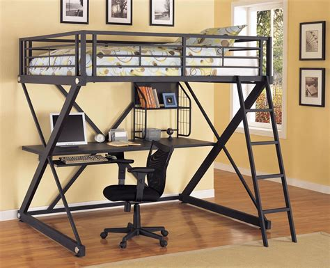 powell z bedroom size metal loft bed with study desk