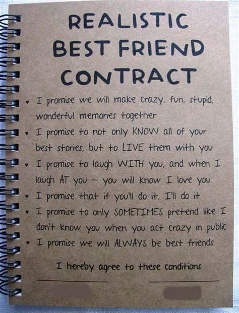 8 Things That Bff Relationships Up by Realistic Best Friend Contract Friendship Quotes