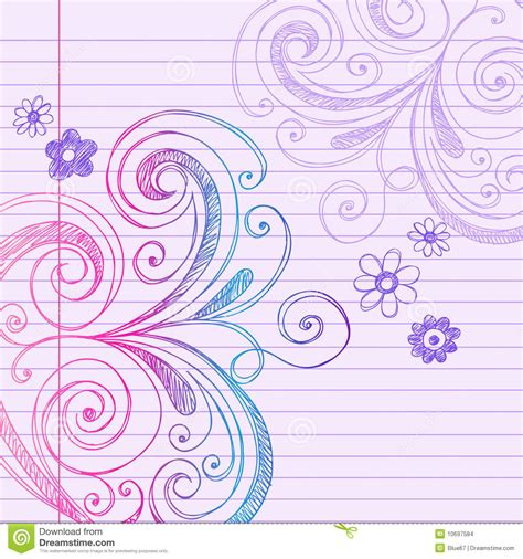 doodle on paper sketchy doodles on notebook paper vector stock vector