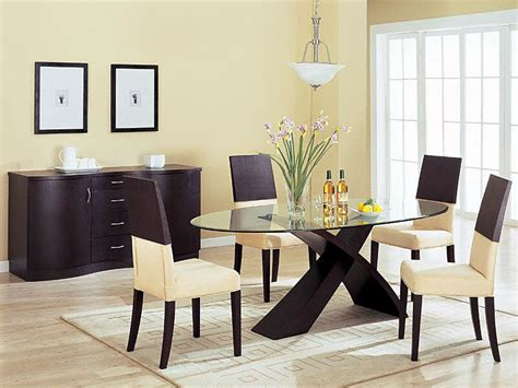 modern dining room with wooden table set and chest interior design