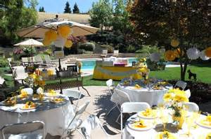 outdoor bridal shower yellow and white theme yellow