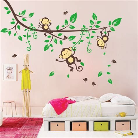 giant wall stickers for kids bedroom sale cartoon monkey tree large wall stickers animals for