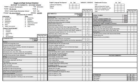 standards based report card template 6th grade report card template on report cardgrades