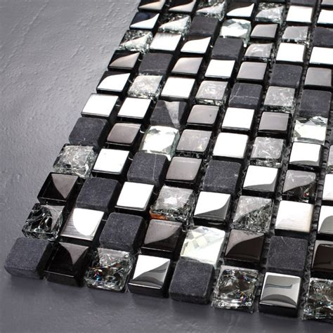 black and silver bathroom tiles crackle crystal mosaic diamond silver plating glass tile