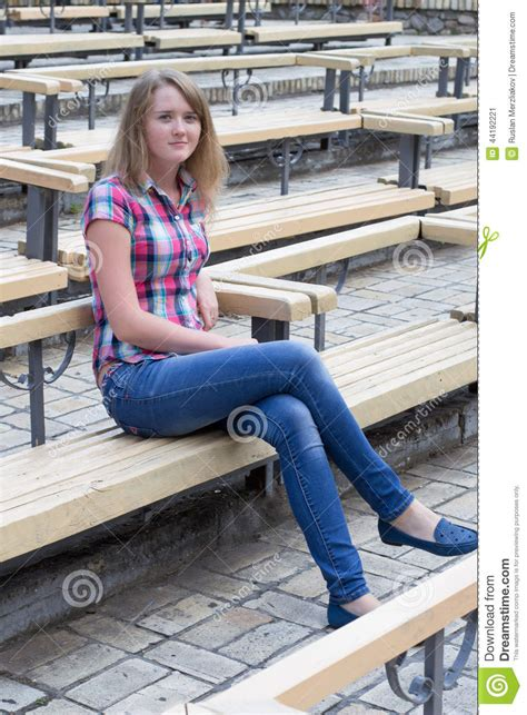 bench girl girl on a bench stock photo image 44192221