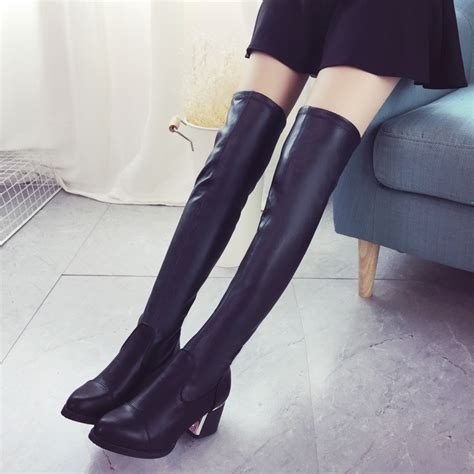 17 Most Fashionable The Knee Boots by Stretch Slim Thigh High Boots Fashion The