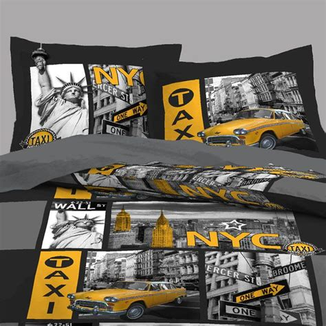 housses d oreillers housse de couette new york taxi 2 taies d oreillers