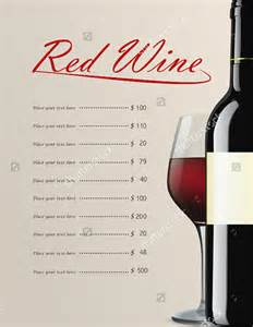wine menu templates 26 wine menu templates free sle exle format