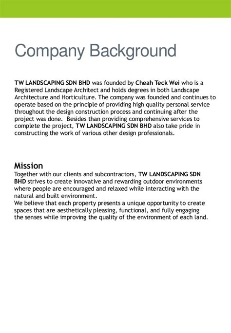 Sle Introduction Letter For Construction Company Profile Company Profile Tw Landscaping