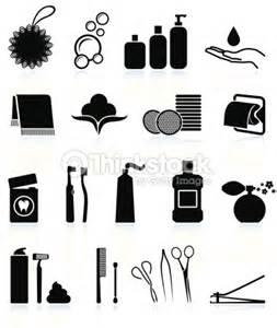 Bathroom Icon Set 벡터 아트 Bathroom Accessories Black And White Icon Set