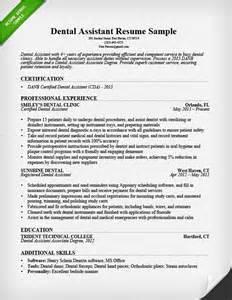 Dental Assistant Resume Sles by Sles Resume For Dental Assistant Resume Sles