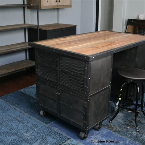 Hand Made Kitchen Island Work Station Vintage Industrial Kitchen Work Station Island