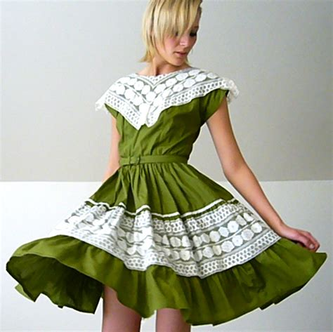 swing dancing clothing 1950 s swing dancing dress in avocado and lace