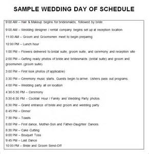 wedding schedule template 25 free word excel pdf psd