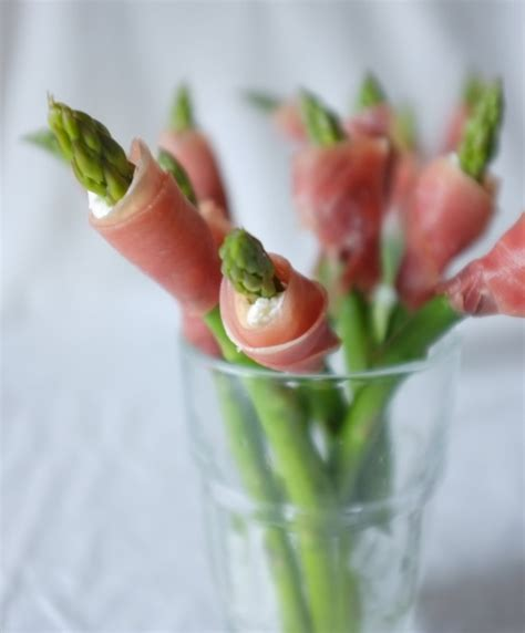 green asparagus goat cheese and flowers with an orange easy appetizers for spring entertaining