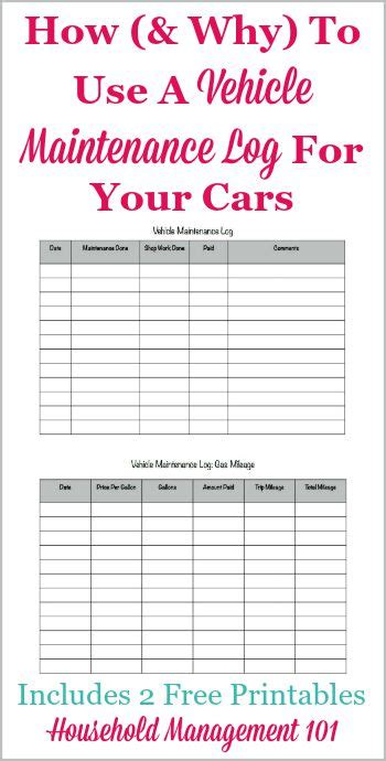 Cars That Need The Least Maintenance by Free Printable Vehicle Maintenance Log Why You Should