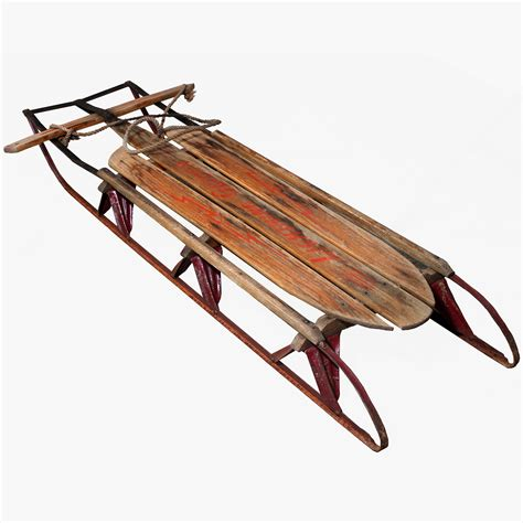 vintage original lightning guider wooden snow sled sleigh