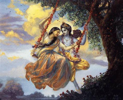 radha krishna swing radha and krishna on a swing