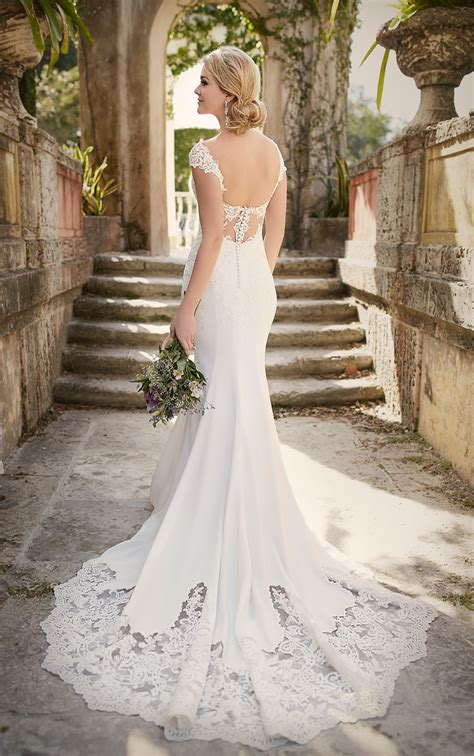 lace cap sleeve wedding dress essense  australia
