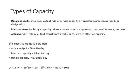 design effective and actual capacity capacity requirement planning rough cut capacity planning