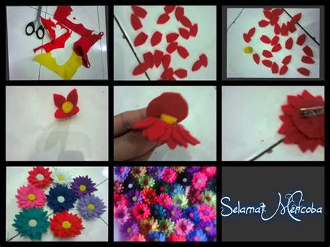 tutorial membuat bunga sakura dari kain flanel cara membuat bros bunga dari kain flanel suka suka izzah