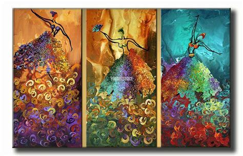 oil painting on 3 piece cheap modern paintings for living 3 piece wall art peacock abstract dancers dance large