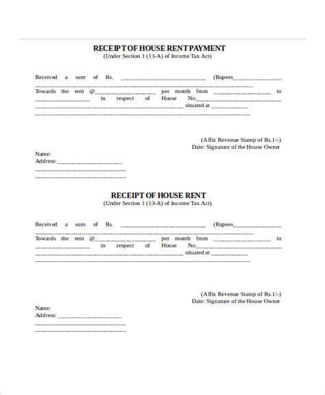 Template For Receipt Of Rent Payment by Rent Receipt Template 9 Free Word Pdf Documents