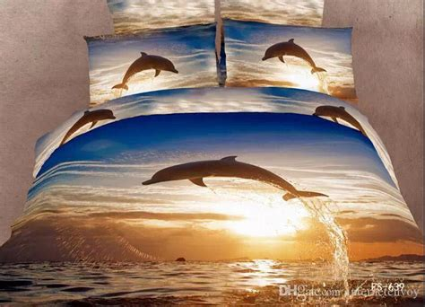 Bed Cover New Dolphin Uk 180 160 3d painting dolphin jumping cotton bedding set bed
